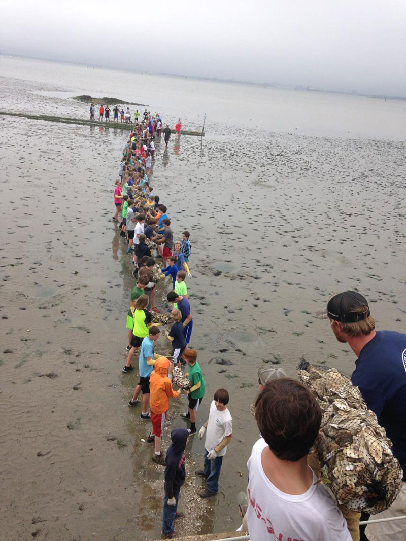 Volunteers move oyster shell in SCOREprogram